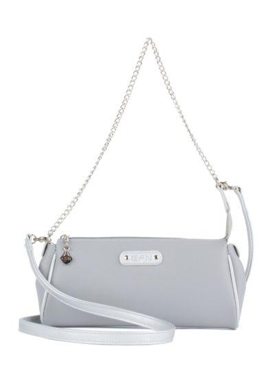 Маленькая сумка женская с ремнем и цепочкой Грифон серого цвета, артикул 664