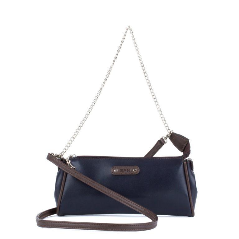 Маленькая сумка женская с ремнем и цепочкой Грифон темно-синего цвета артикул 664