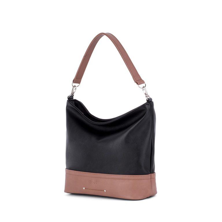 Сумка женская повседневная Грифон комбинированного цвета черный с розовато-коричневым артикул 672