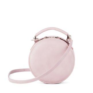 Маленькая круглая сумка через плечо Грифон нежного розового цвета артикул 663