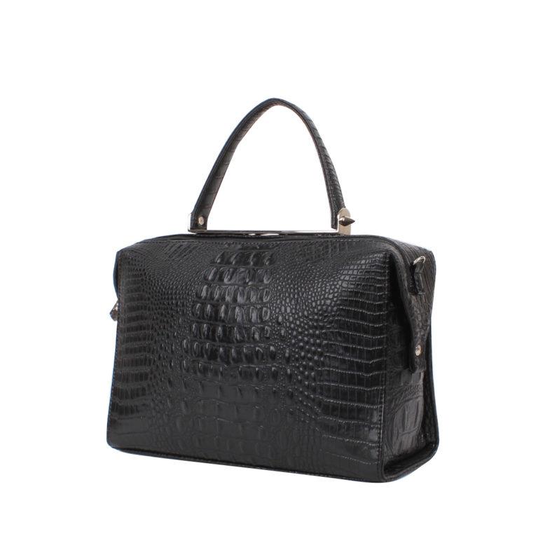Стильная женская сумка прямоугольной формы Грифон цвета черный крокодил, артикул 615