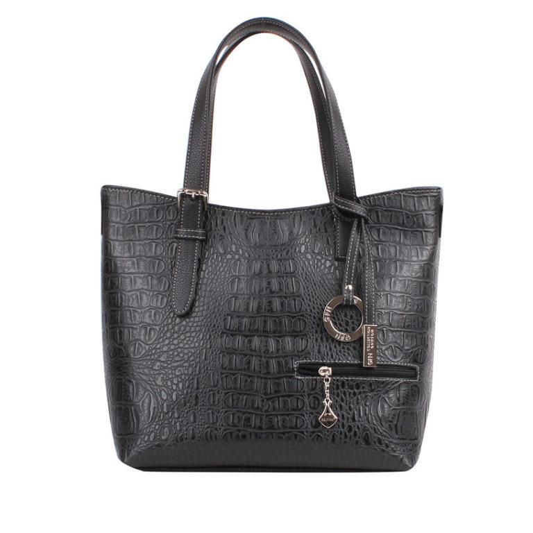 Сумка женская классическая Грифон цвета черный крокодил, артикул 622