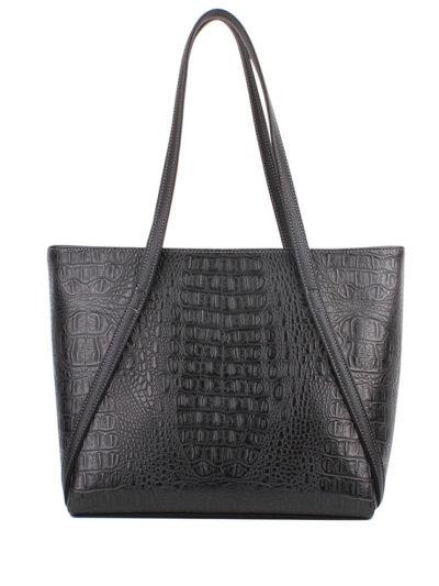 Стильная женская сумка-шоппер Грифон цвета черный крокодил, артикул 623