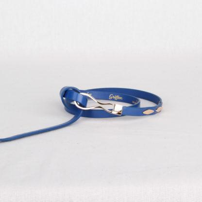 Ремень кожаный женский синий Грифон, артикул 2