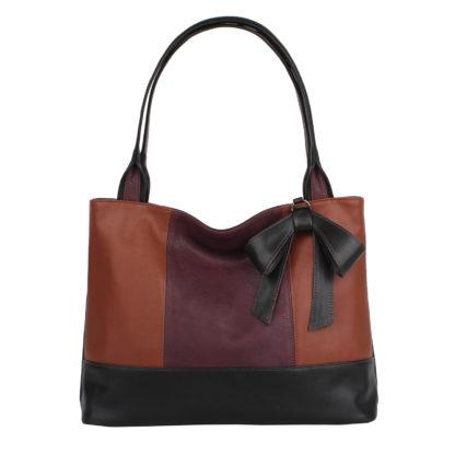 Женская сумка-шоппер Грифон черный / коричневый / бордо, артикул 15С586