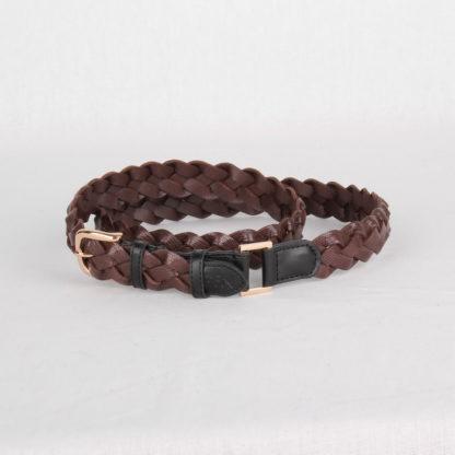 Ремень кожаный женский коричневый плетеный Грифон, артикул 18