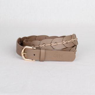 Ремень кожаный женский бежевый плетеный Грифон, артикул 16