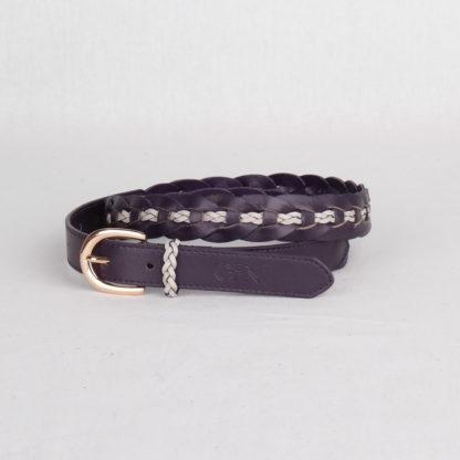 Ремень кожаный женский фиолетовый плетеный Грифон, артикул 19