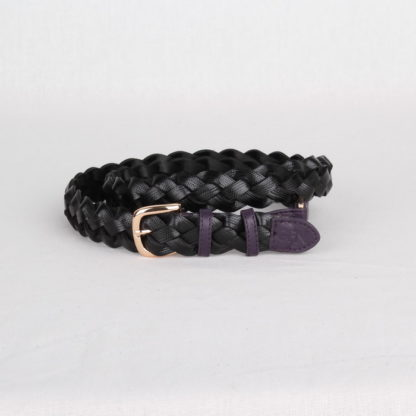 Ремень кожаный женский черный плетеный Грифон, артикул 18
