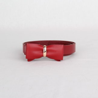 Ремень кожаный женский красный с бантом Грифон, артикул 1
