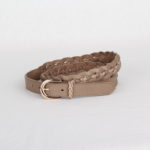 Ремень кожаный женский бежевый плетеный Грифон, артикул 19