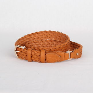 Ремень кожаный женский оранжевый плетеный Грифон, артикул 17