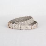 Ремень кожаный женский серый плетеный Грифон, артикул 17