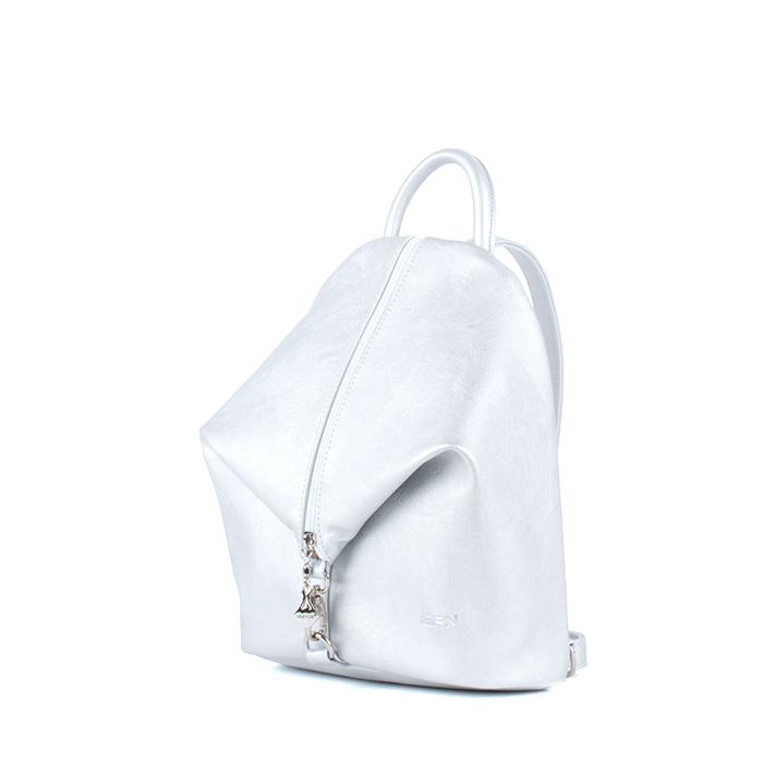 Небольшой женский городской рюкзак Грифон серебряного цвета, артикул 653