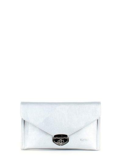 Сумка-клатч с ремнем через плечо серебристого цвета Грифон, артикул 649