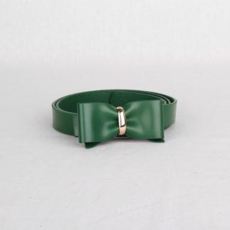 Ремень кожаный женский зеленый с бантом Грифон, артикул 1