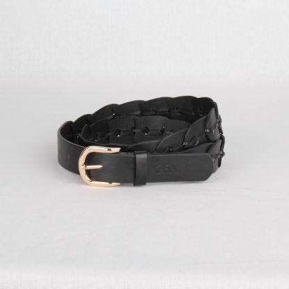 Ремень кожаный женский черный плетеный Грифон, артикул 16
