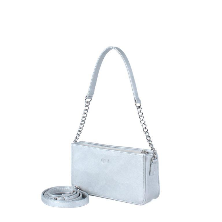 Маленькая сумка женская с цепочкой через плечо Грифон серебряного цвета, артикул 642