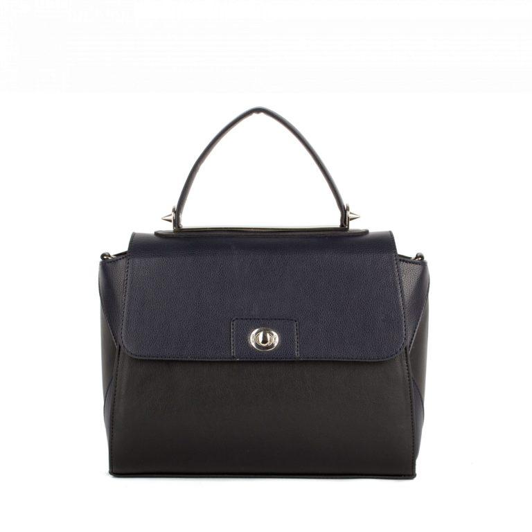 Небольшая женская сумка-портфель повседневная Грифон черный / синий, артикул 617