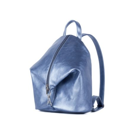 Небольшой женский городской рюкзак Грифон блестящего светло голубого цвета, артикул 653