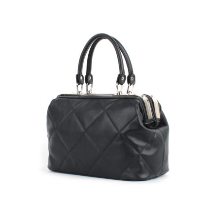 Стильная женская сумка-саквояж Грифон черная стеганая, артикул 613