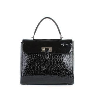 Стильная женская лаковая сумка Грифон черная змея, артикул 625