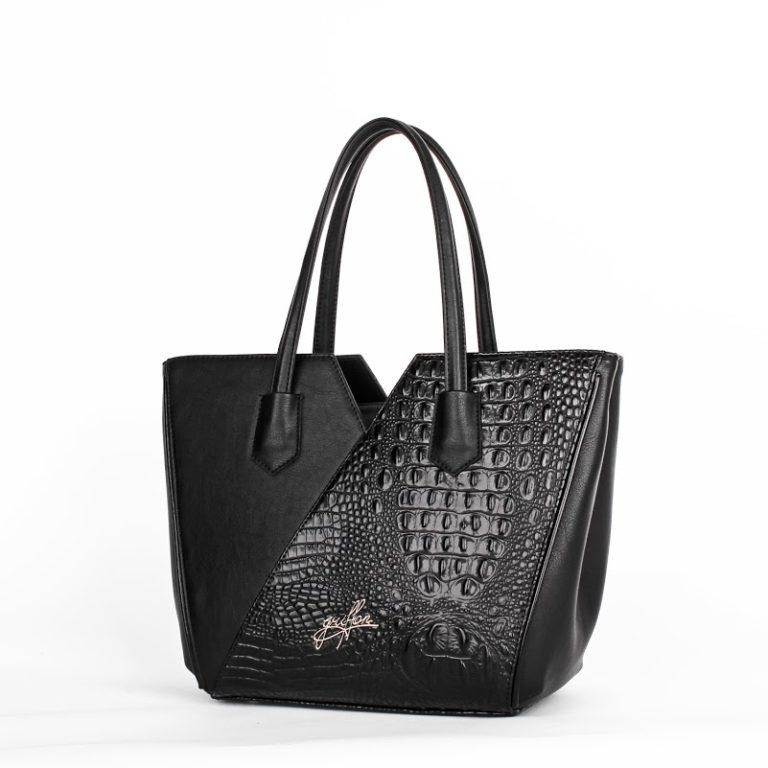 Оригинальная женская сумка трапецевидной формы Грифон цвета черный крокодил, артикул 15С580
