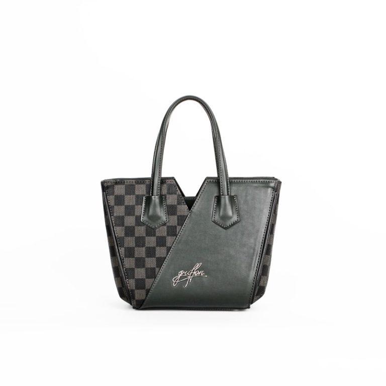 Оригинальная женская сумка трапецевидной формы Грифон приглушенно зеленого цвета артикул 15С582