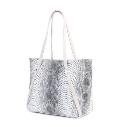 Стильная женская сумка-шоппер Грифон цвета серый крокодил, артикул 623