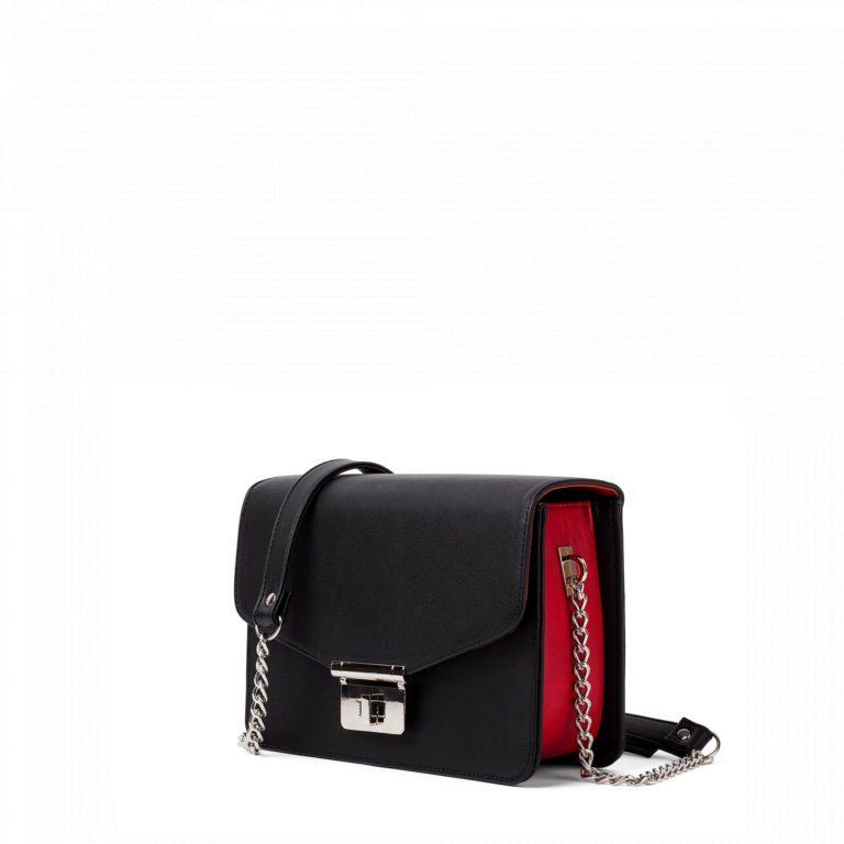 Маленькая женская сумка с цепочкой через плечо Грифон черная с красным, артикул 640