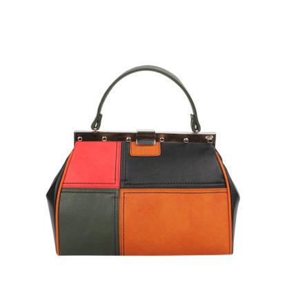 Стильная женская сумка-саквояж Грифон черный / оранжевый / зеленый / красный, артикул 15С596