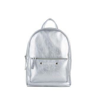 Небольшой женский городской рюкзак Грифон серебряного цвета, артикул 655