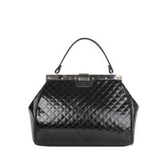 Стильная женская сумка-саквояж Грифон черная стеганая, артикул 15С597