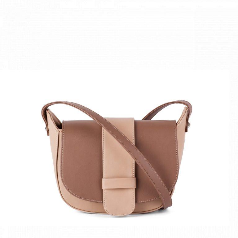Небольшая женская сумка с клапаном Грифон коричнево-бежевого цвета, артикул 652