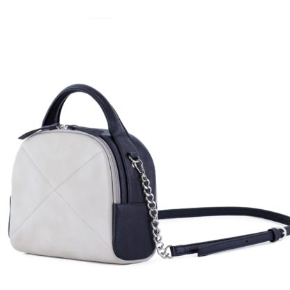 Оригинальная женская сумка светло серого и синего цвета с цепочкой через плечо Грифон 676