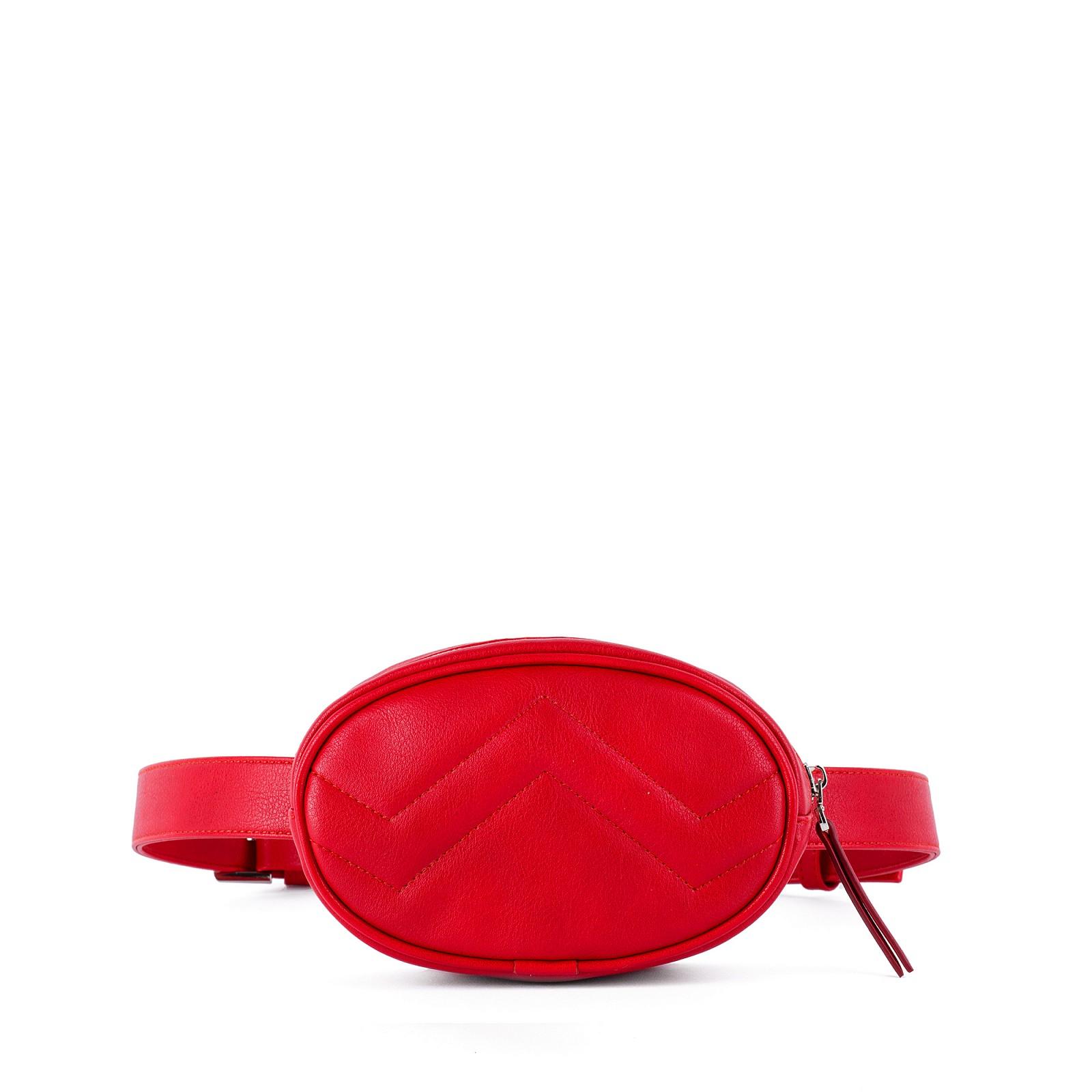 Маленькая красная женская сумка на пояс / через плечо Грифон 674
