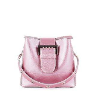 Оригинальная женская сумка блестящего розового цвета Грифон 678
