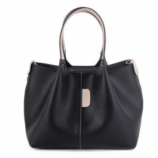 Небольшая женская сумка-мешок черного цвета Грифон 675