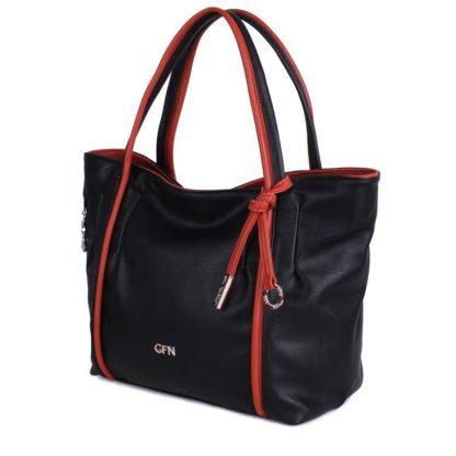 Трапецевидная сумка-шоппер Грифон черно-коричневого цвета, артикул 14С509