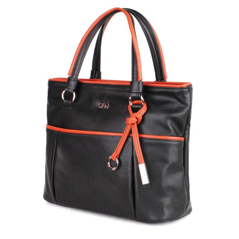 Женская сумка-шоппер Грифон черно-коричневого цвета, артикул 14С525