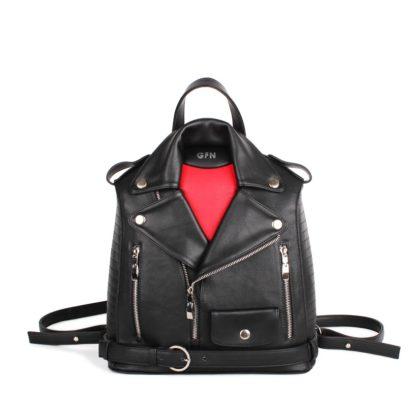 Небольшой женский рюкзак Грифон в стиле куртки-косухи черно-красный, артикул 14С554