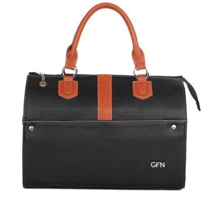 Стильная женская сумка-саквояж Грифон черный / коричневый, артикул 14С555