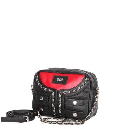 Небольшая оригинальная женская сумка Грифон в стиле куртки-косухи черно-красная, артикул 14С558