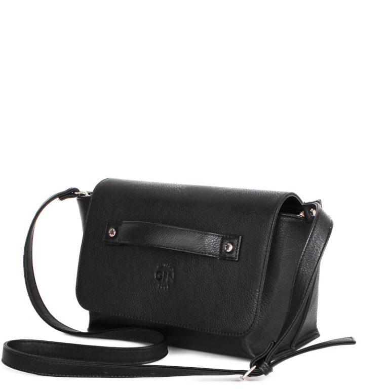 Небольшая сумка-клатч трапецевидной формы Грифон черного цвета, артикул 15С563