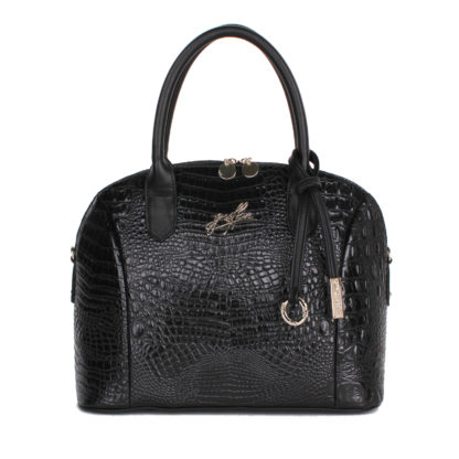 Сумка женская классическая Грифон цвета черный крокодил, артикул 15С576