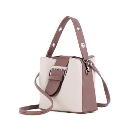 Оригинальная женская сумка практичного цветового сочетания светло-бежевый - орех Грифон 678